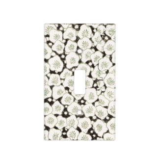 Black White Art Print Floral Asian Flowers Light Switch Cover