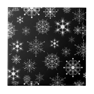 Black & White Assorted Christmas Snowflakes Tile