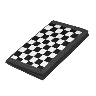 Black White Auto Racing Chequered Checkered Flag Trifold Wallet