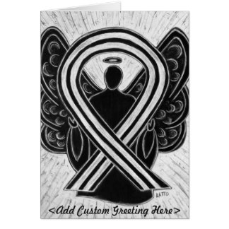 Black & White Awareness Ribbon Angel Greeting Card