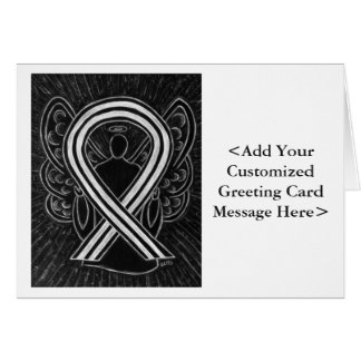 Black & White Awareness Ribbon Personalized Cards