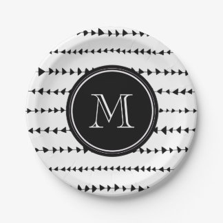 Black White Aztec Arrows Monogram Paper Plate