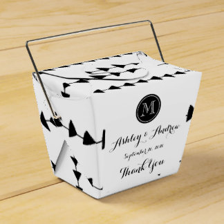 Black White Aztec Arrows Monogram Wedding Favor Box