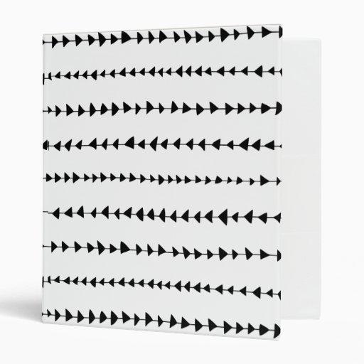 Black White Aztec Arrows Pattern 3 Ring Binder