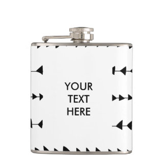 Black White Aztec Arrows Pattern Hip Flask