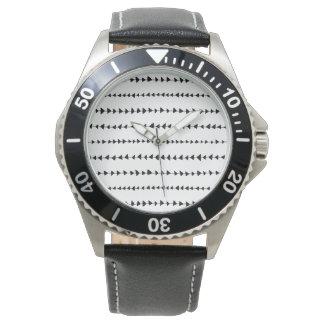 Black  White Aztec Arrows Pattern Wristwatch