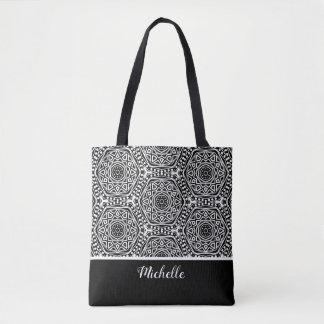 Black White Aztec Mandala Pattern | Personalized Tote Bag