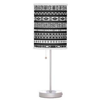 Black White Aztec Tribal Geometric Pattern Table Lamp