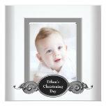 Black White Baby Boy Photo Christening Custom Invitation