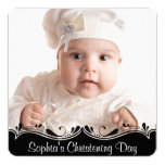 Black White Baby Photo Christening