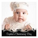 Black White Baby Photo Christening Custom Invitations