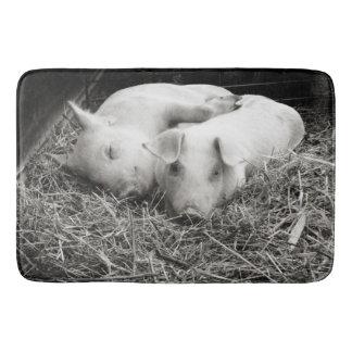 Black & White Baby Pigs Cuddling Bath Mat