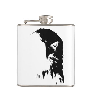 Black & White Bald Eagle Hip Flask