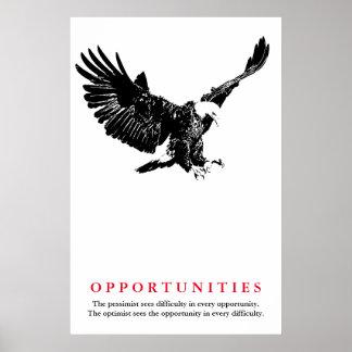 Black White Bald Eagle Motivational Opportunities Poster