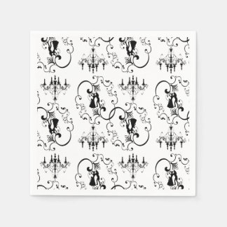 Black white ballroom dancers chandelier paper napkins