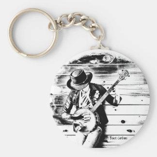 Black & White Banjo Man - Key ring Basic Round Button Keychain