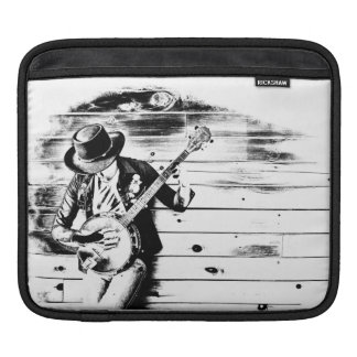 Black & White Banjo Man - Tablet Sleeve iPad Sleeves