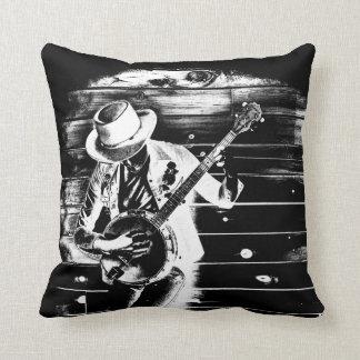 Black & White Banjo Man - Throw cushion