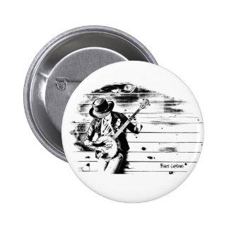 Black & White Banjo Man - white background badge 2 Inch Round Button