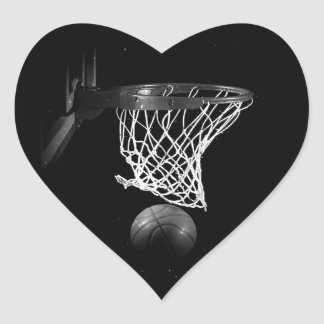 Black & White Basketball Heart Sticker