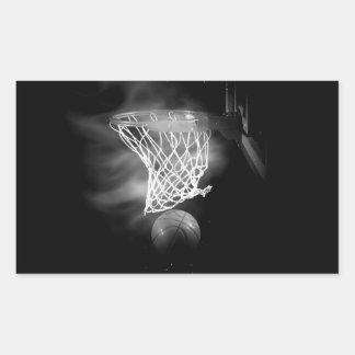 Black & White Basketball Rectangle Sticker