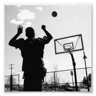 Black & White Basketball Toss Photo