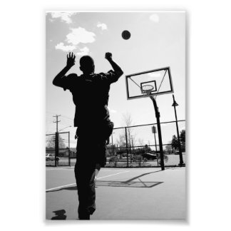 Black & White Basketball Toss Photographic Print
