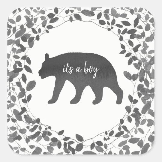 Black + White Bear Cub Foliage Baby Shower Square Sticker