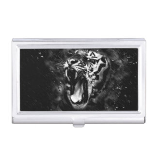 Black & White Beautiful Tiger Head Wildlife Business Card Holder