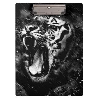 Black & White Beautiful Tiger Head Wildlife Clipboard