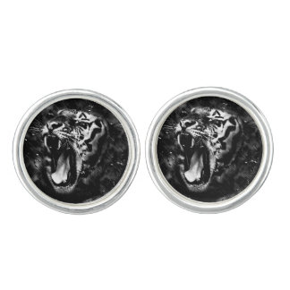 Black & White Beautiful Tiger Head Wildlife Cuff Links