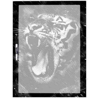 Black & White Beautiful Tiger Head Wildlife Dry Erase Board