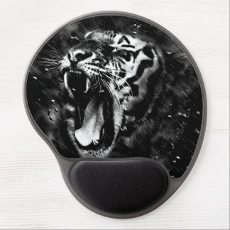 Black & White Beautiful Tiger Head Wildlife Gel Mouse Pad