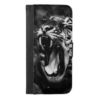Black & White Beautiful Tiger Head Wildlife iPhone 6/6s Plus Wallet Case