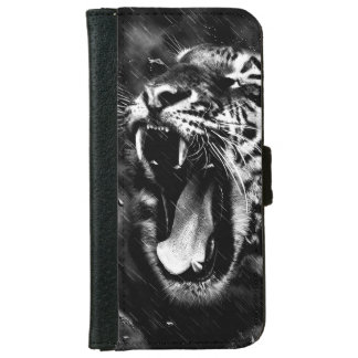 Black & White Beautiful Tiger Head Wildlife iPhone 6 Wallet Case