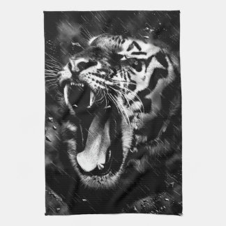 Black & White Beautiful Tiger Head Wildlife Kitchen Towel