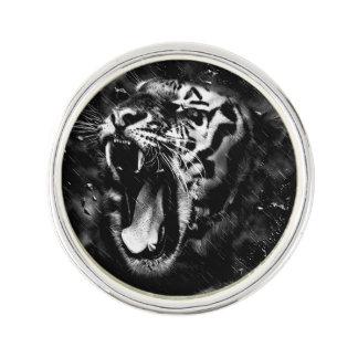 Black & White Beautiful Tiger Head Wildlife Lapel Pin