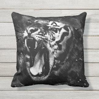 Black & White Beautiful Tiger Head Wildlife Outdoor Pillow