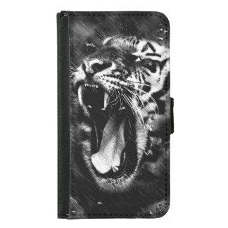 Black & White Beautiful Tiger Head Wildlife Samsung Galaxy S5 Wallet Case