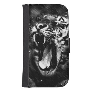 Black & White Beautiful Tiger Head Wildlife Samsung S4 Wallet Case