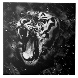 Black & White Beautiful Tiger Head Wildlife Tile