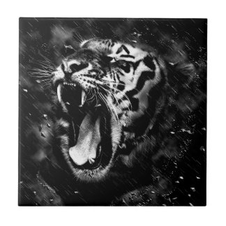 Black & White Beautiful Tiger Head Wildlife Tiles