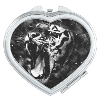 Black & White Beautiful Tiger Head Wildlife Vanity Mirrors