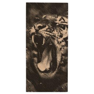 Black & White Beautiful Tiger Head Wildlife Wood USB Flash Drive