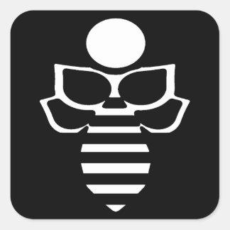 Black & White Bee - Square Square Sticker