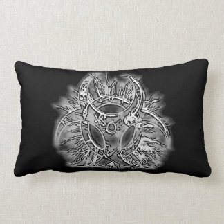 Black & white biohazard toxic warning sign symbol lumbar pillow