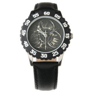 Black & white biohazard toxic warning sign symbol wrist watches