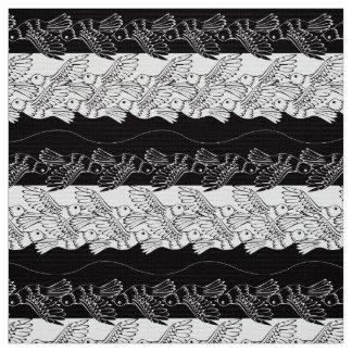 Black white birds abstract minimalistic pattern fabric