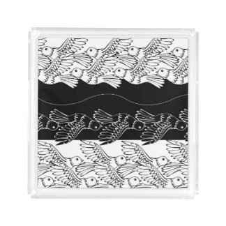 Black white birds abstract minimalistic pattern serving tray