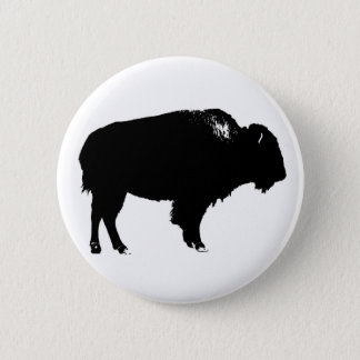 Black & White Bison Buffalo Silhouette Pop Art 2 Inch Round Button
